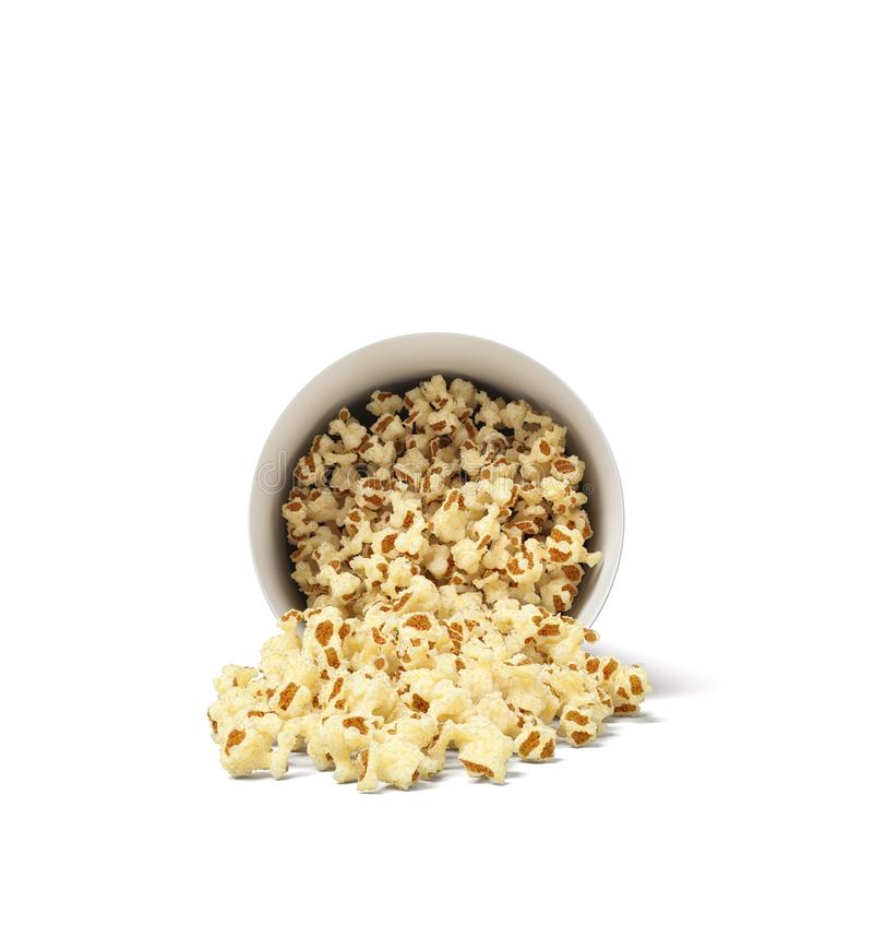 3d rendering of a round striped popcorn bucket lying on its side with popcorn spilling out of it. Movie snack. Popcorn time. Watch and eat vector illustration
