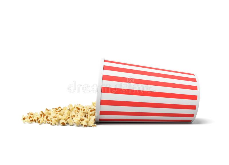 3d rendering of a round striped popcorn bucket lying on its side with popcorn spilling out of it. Movie snack. Popcorn time. Watch and eat royalty free illustration