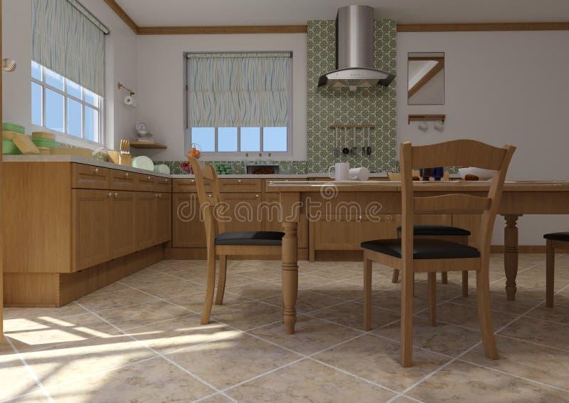 3D Rendering Rural Kitchen stock illustratie