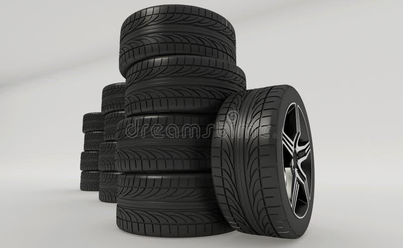 3d rendering samochodowe opony ilustracji
