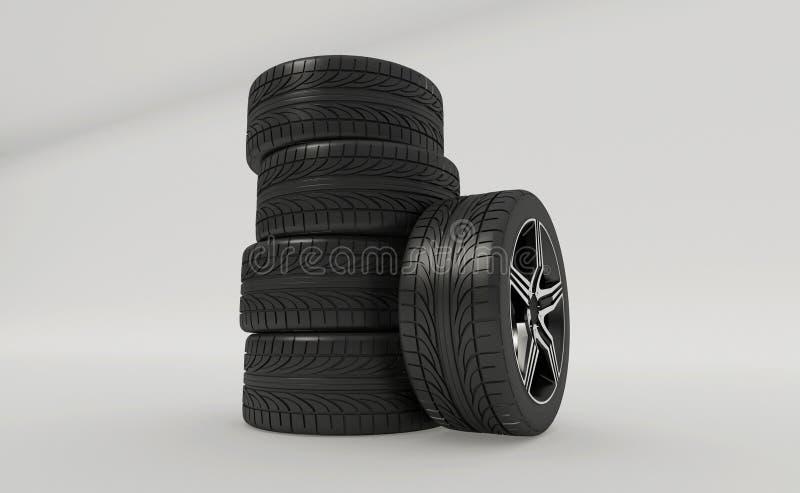 3d rendering samochodowe opony royalty ilustracja
