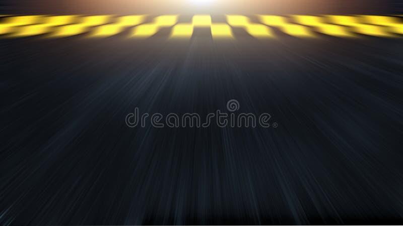 3D rendering samochodowy ścigać się meta z olśniewającym złocistym racą Asfaltowy ślad z prędkości plamy skutkiem Poj?c zdjęcia royalty free