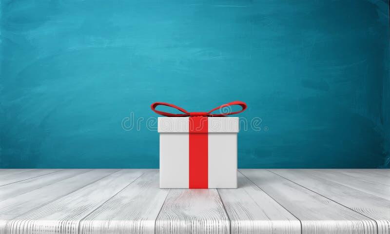 3d rendering samotny biały prezenta pudełko z czerwoną łęk pozycją na drewnianym biurku przed błękitnym tłem ilustracji