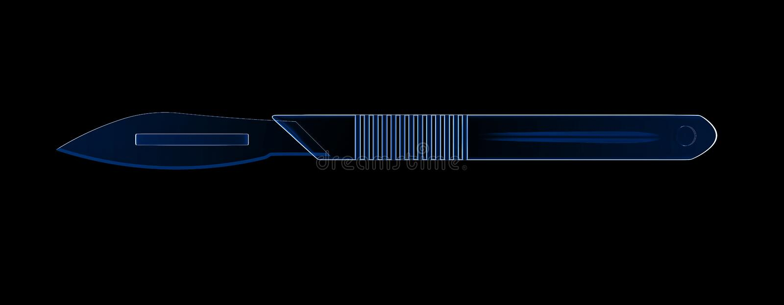 X-ray scalpel or surgery knife. 3d rendering scalpel or surgery knife isolated on black royalty free illustration