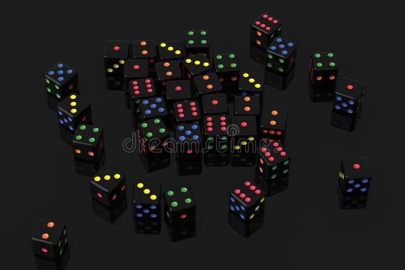 Scattered dice. 3d rendering of scattered dice royalty free illustration