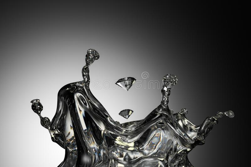 The scene where the liquid turns into a gem. 3d rendering of the scene where the liquid turns into a gem royalty free illustration