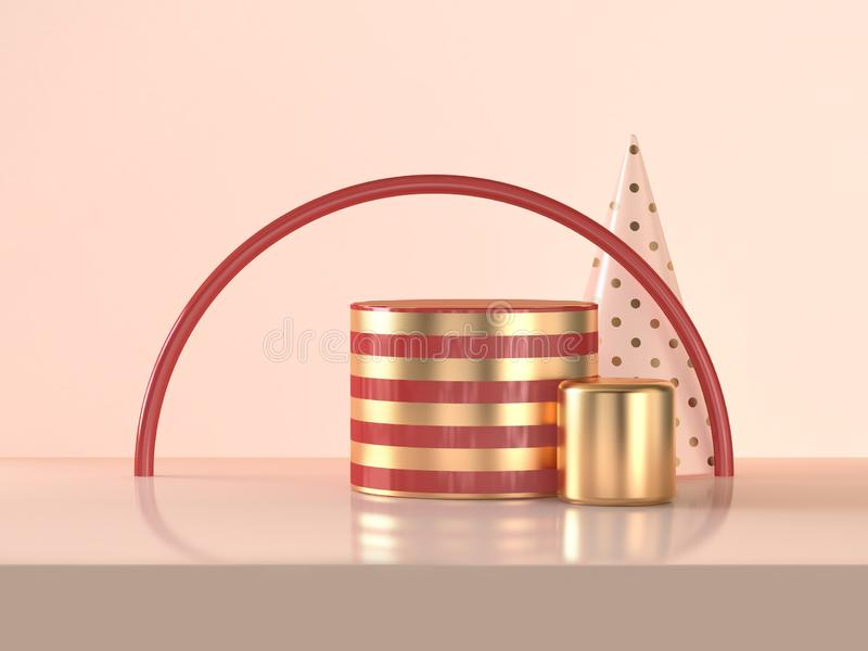 3d rendering Semicircle red gold cylinder abstract scene celebrations Christmas holiday concept. Semicircle red gold cylinder abstract 3d rendering scene stock illustration
