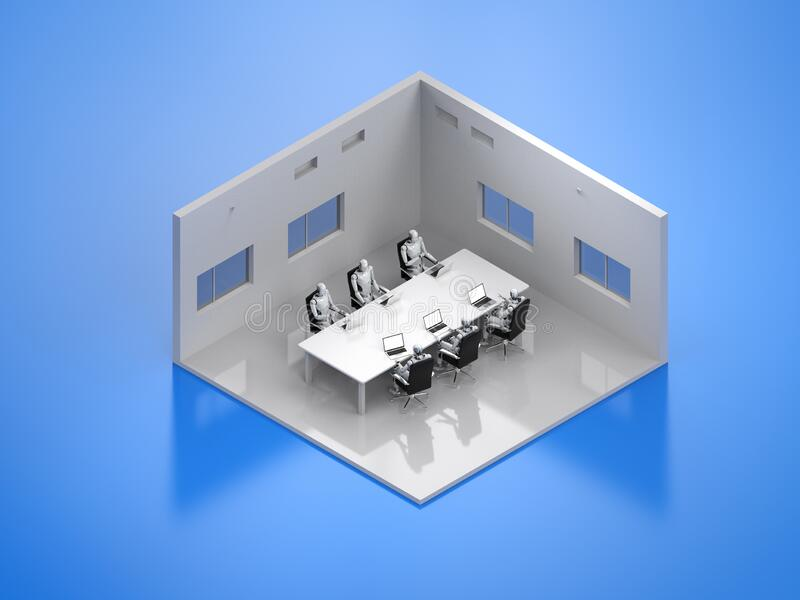 Conference room isometric. 3d rendering seminar room or conference room isometric with cyborgs sitting in a row royalty free illustration