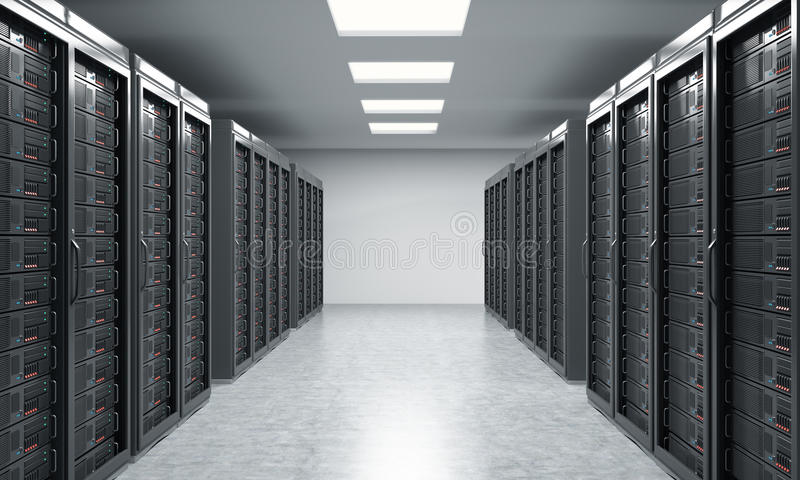 3D rendering of server for data storage, processing and analysis vector illustration