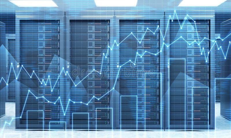 3D rendering serwer dla przechowywania danych, przerobu i analizy, royalty ilustracja