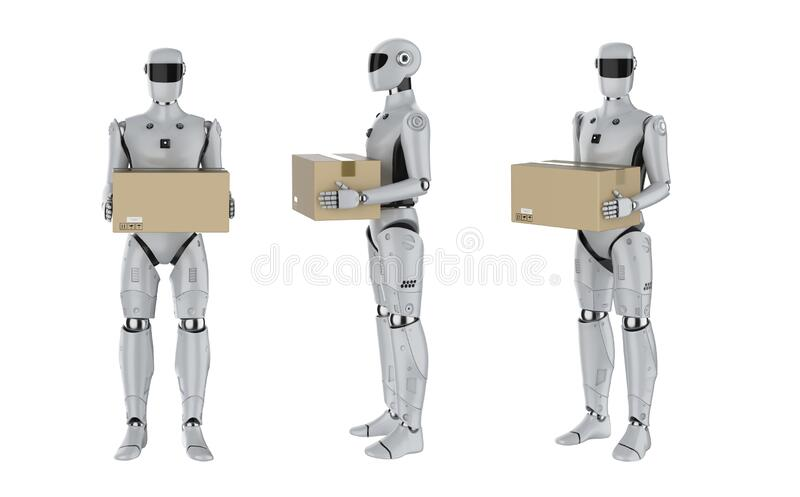 Set of artificial intelligence cyborgs or robots with box. 3d rendering set of artificial intelligence cyborgs or delivery robots hold cardboard boxes isolated stock illustration