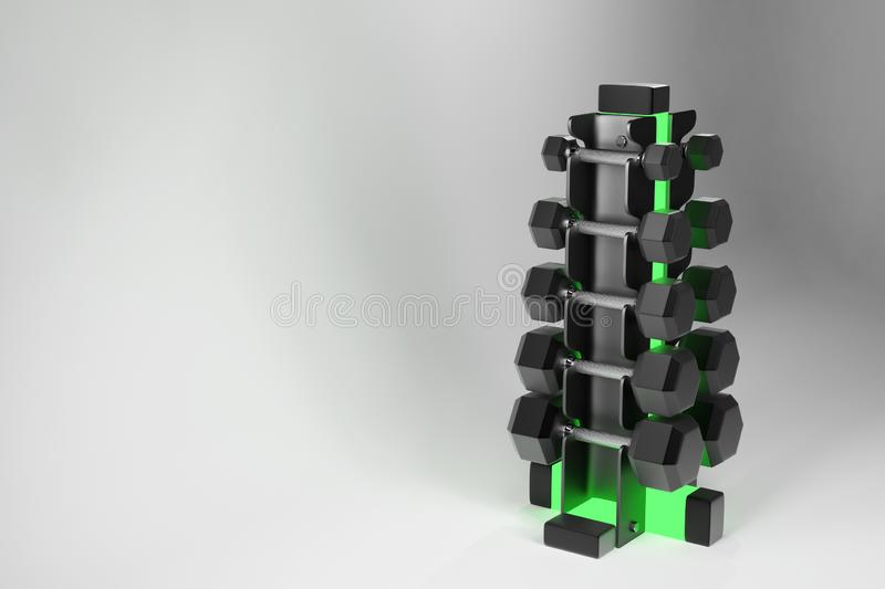 3D rendering. Set of dumbbells for sport on a white background folded on a special black metal stand. royalty free stock images