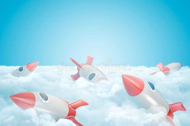 3d rendering of set of gray and red toy space rockets on layer of thick white fluffy clouds under blue sky. royalty free illustration