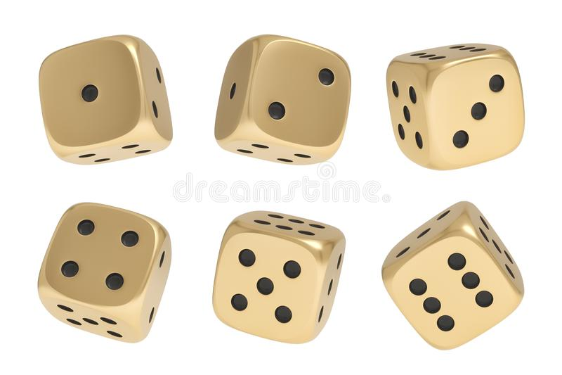 3d rendering of a set made up of nine golden game dice in different sides and angles on a white background. Games and recreation. Gambling. Cards and casino royalty free illustration