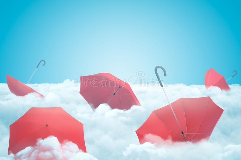 3d rendering of set of red open umbrellas on layer of thick white fluffy clouds under blue sky. Climate and weather. Seasonal sales. 3D design vector illustration