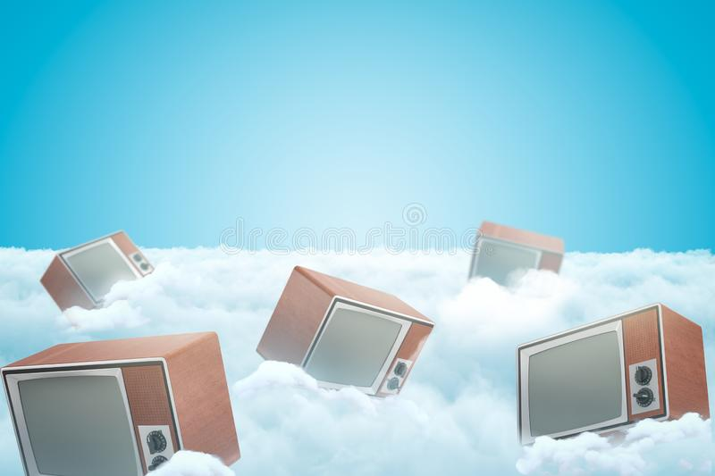 3d rendering of set of retro TV sets on thick layer of white fluffy clouds with blue sky above. stock illustration