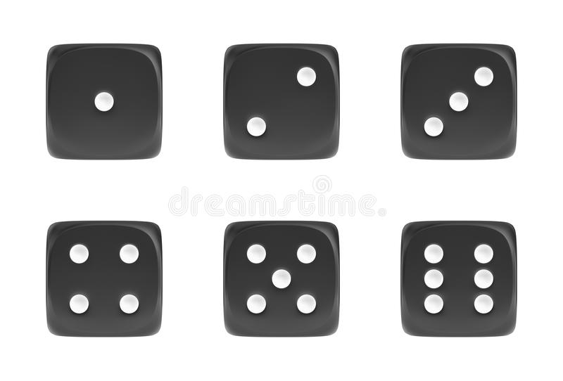 3d rendering of a set of six black dice in front view with white dots showing different numbers. Bets and wagers. Gambling and casino. Win or lose vector illustration