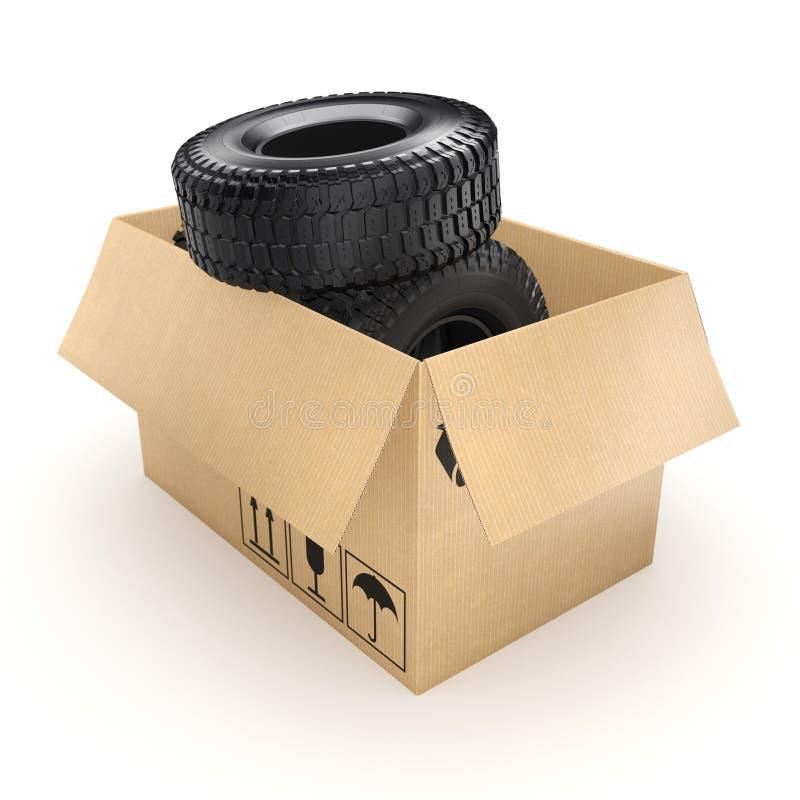 3D rendering set of tires stock illustration