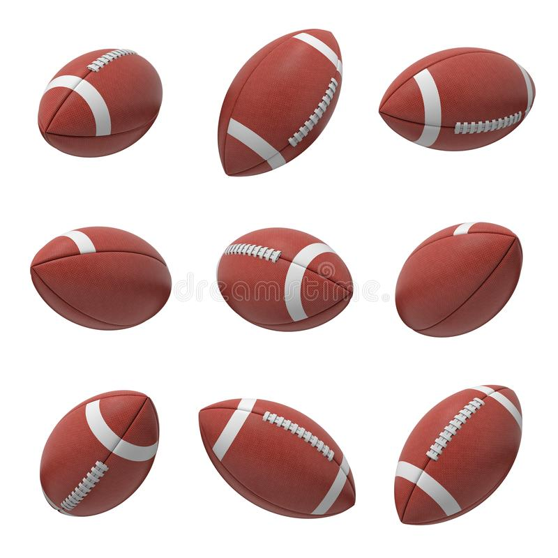 3d rendering of several oval American football ball hanging on a white background and shown from different sides. Sport and recreation. Ball games. Athletic stock illustration