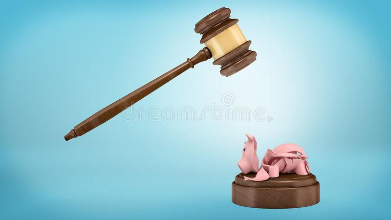 3d rendering of a shards of a broken piggy bank lying on a sound block below a judge gavel. stock photography