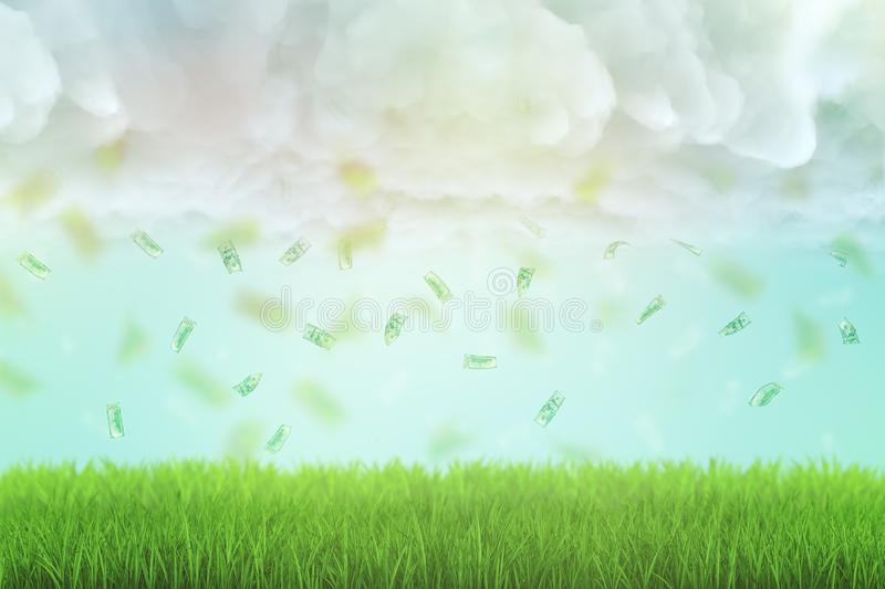 3d rendering of shower of dollar bills raining from thick clouds onto green lawn. royalty free stock images
