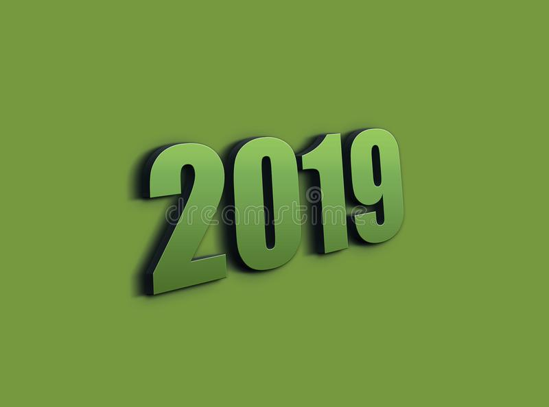 3D rendering 2019 sign on purple background. 2019 symbol, icon or button, represents the new year 2019 vector illustration