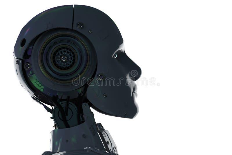 Silhouette ai robot stock illustration