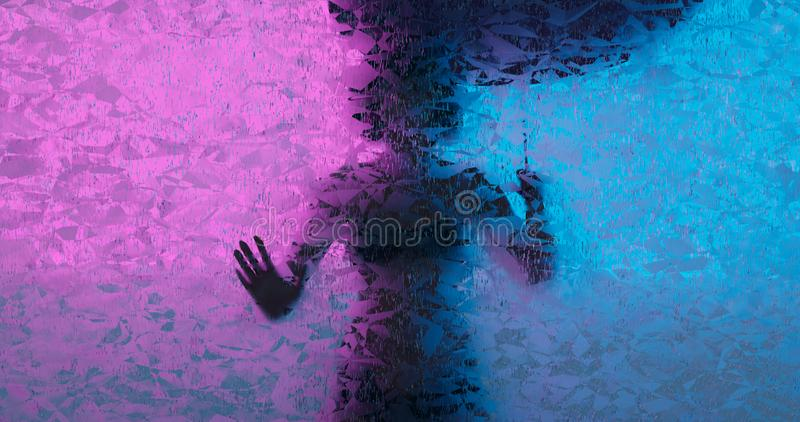 3d rendering. Silhouette of a woman with an umbrella from the rain behind a glass wall or frosted window. Blurred hatching royalty free stock photo
