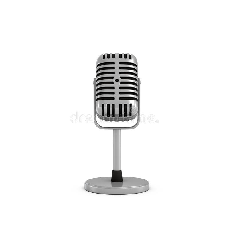 3d rendering of a silver metal retro tabletop microphone with a round base. royalty free illustration