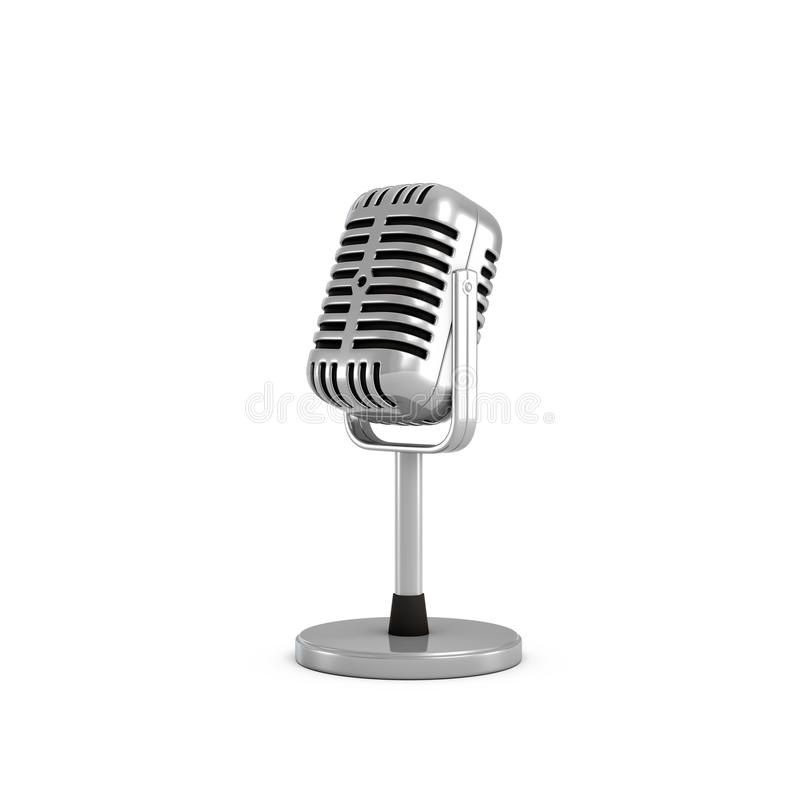 3d rendering of a silver metal retro tabletop microphone with a round base. vector illustration