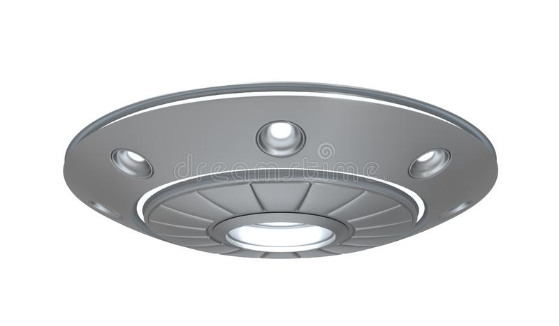 3d rendering of silver metal ufo isolated on white background vector illustration