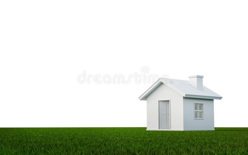 3D rendering of simple house on green grass background with clip royalty free illustration