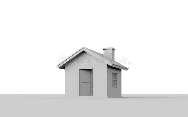 3D rendering of simple house isolated on white background. 3D rendering of simple house isolated on white background with clipping path. White schematic mass vector illustration