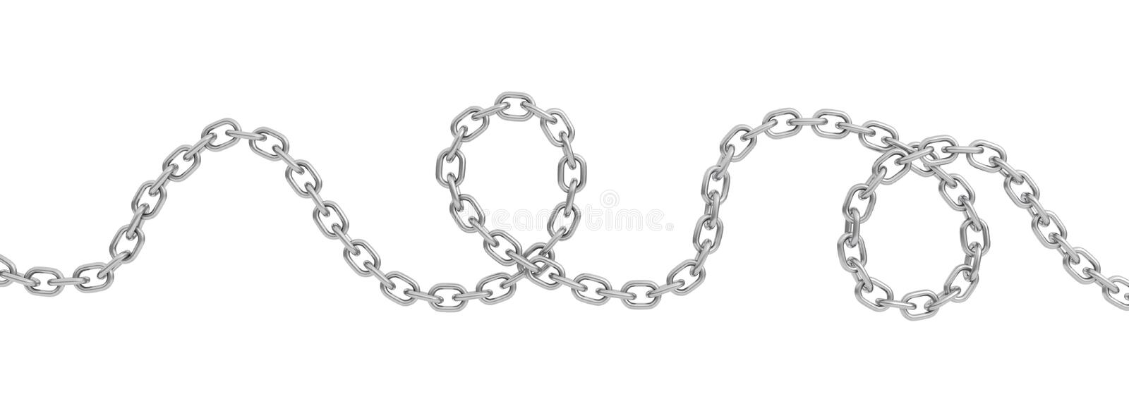 3d rendering of a single curved polished steel chain lying on a white background. stock illustration