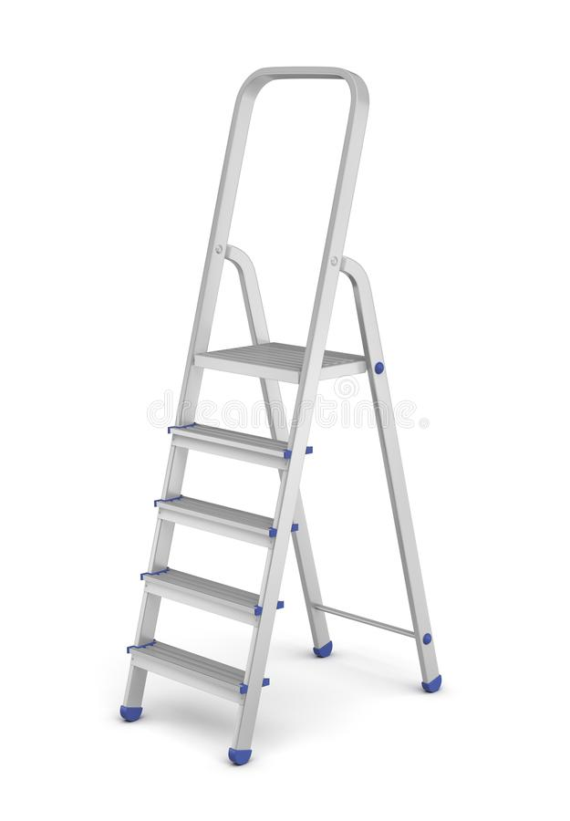 3d rendering of a single metal builder`s step ladder with blue fittings isolated on white background. royalty free stock images