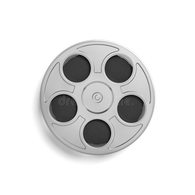 3d rendering of a single movie reel with a lot of film taped tightly inside of it in a top view on a white background. royalty free stock image