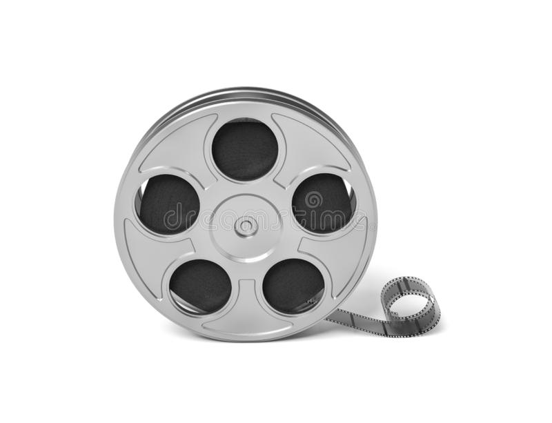 3d rendering of a single movie reel with some film tailing after it in a front view on a white background. stock illustration