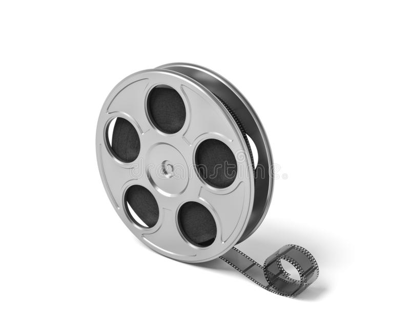 3d rendering of a single movie reel with some film tailing after it on a white background. Cinema and movies. Creating art. Entertainment industry stock illustration