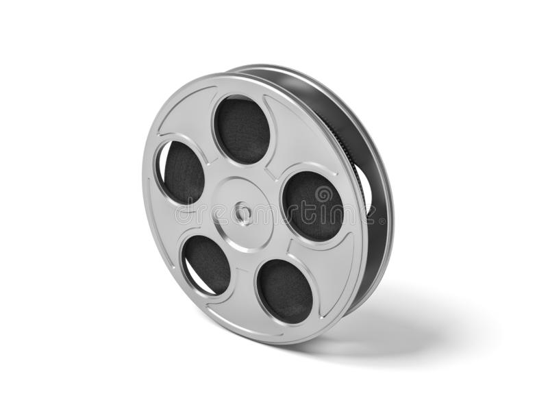 3d rendering of a single movie reel with steel casing on a white background. Creating movies. Retro art supplies. Beginning of movie history vector illustration
