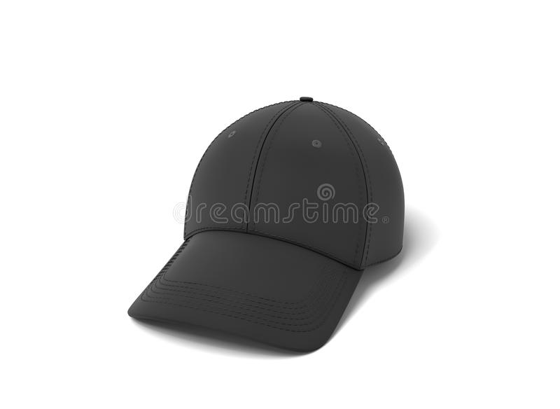3d rendering of a single new baseball cap made in black textile material lying on a white background. Baseball apparel. Sport headwear. New cap vector illustration