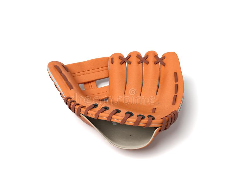 3d rendering of a single orange baseball glove lying on a white background. Baseball gear. Sport protective wear. Catcher`s glove royalty free illustration