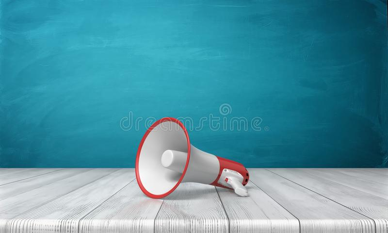 3d rendering of a single red and white megaphone lying down on a wooden desk on blue background. Public speaking. Sound equipment. News and announcements royalty free illustration