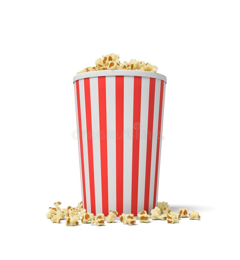 3d rendering of a single small popcorn bucket in red and white stripes with popcorn overflowing of it. royalty free illustration