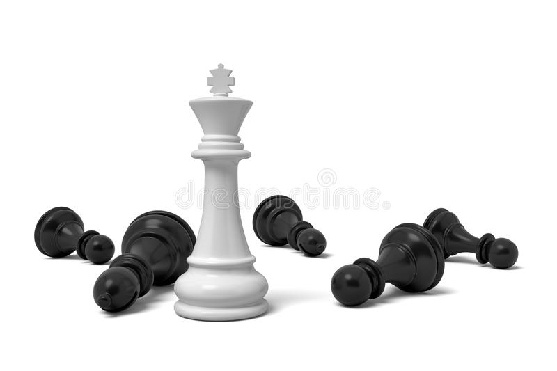 3d rendering of a single standing white chess king piece among many fallen black pawns. stock illustration