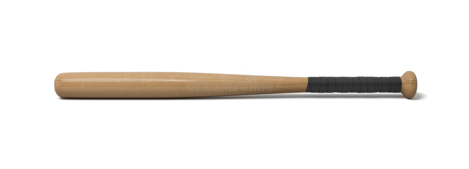 3d rendering of a single wooden baseball bat with a wrapped handle isolated on a white background. Bat and ball sport. Hitting equipment. American pastime royalty free illustration