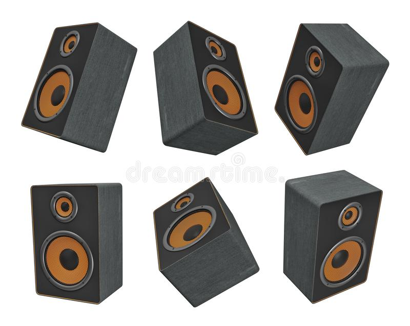 3d rendering of six big black and orange music speakers hanging in different views on a white background. royalty free illustration