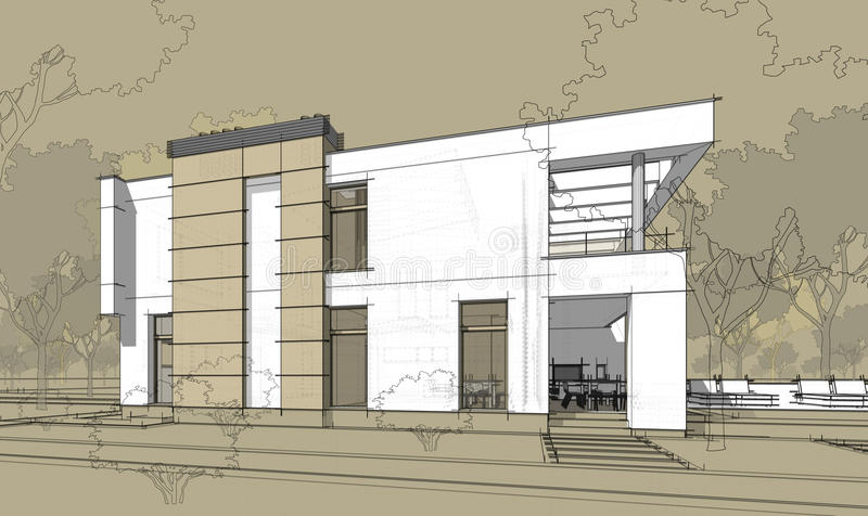 3d rendering sketch of modern cozy house. vector illustration