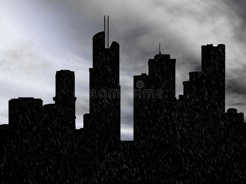 3D rendering of a cityscape in the rain. stock image