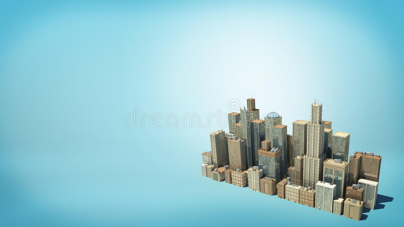 3d rendering of a small cluster of many tall business buildings as seen from above on blue background. stock illustration