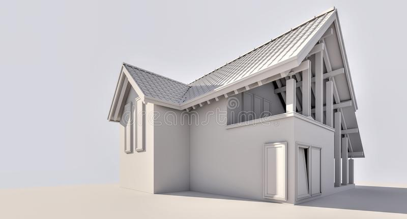 3D rendering. A small country house. royalty free stock photography